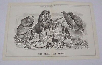 Antique Print 1882 Punch Or The London Charivari 'the Lions Just Share'