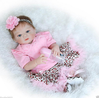 "Lovely Full body silicone Vinyl 23"" Reborn baby girl doll Lifelike Newborn gifts"