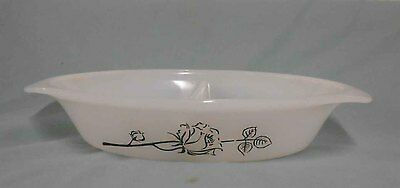 Vintage Pyrex, Milk Glass  Agee 'Black Rose' Divided serving dish - excel condit
