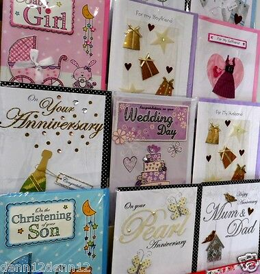 "SEE THIS! 39p! SUPER SIZE HANDMADE CARDS x108, CODE 250, 12""x7"", 18 DESIGNS X 6"