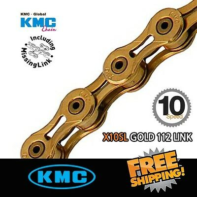 KMC X10SL Gold Chain 10 Speed 116link with Missing Link - 116 Links chain