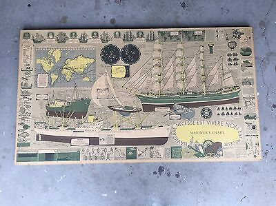 Vintage Nautical Mariners Chart On Board Backing Frame. Maritime.