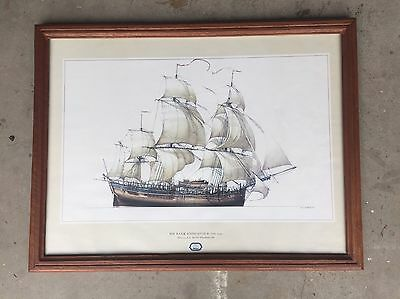 Vintage Nautical Ship Print - The Endeavour Replica - Behind Glass - Maritime.