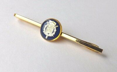 Tie Slide Tie Clip Gold Tone with Central Blue Coat of Arms Heraldic  FREE P&P
