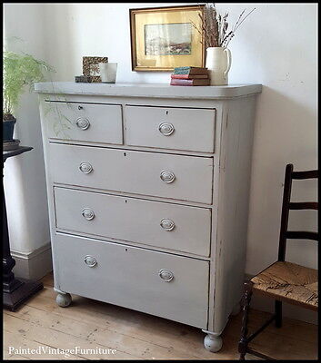 Large Antique Grey Hand Painted Chest of Drawers
