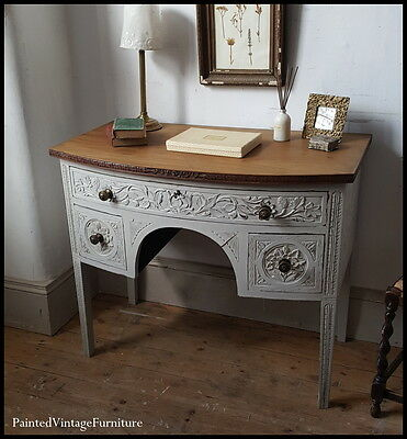 Beautiful Antique Carved Hand Painted Shabby Chic Desk Side Table Farrow & Ball