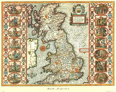 Map of British Isles, Reproduction Antique Map of British Isles by John Speed