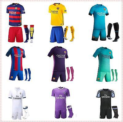 16-17-18 Kids Soccer Team Suit New Home Away Jersey Kit+socks 3-13 Years Kids