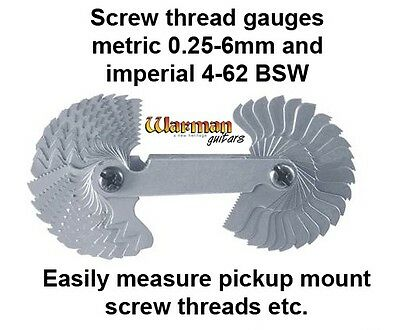Pickup mount screw thread gauge metric & imperial