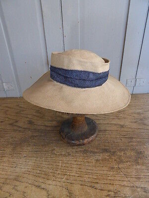 """Vintage French straw hat with wide brim and blue ribbon size XS 19"""""""