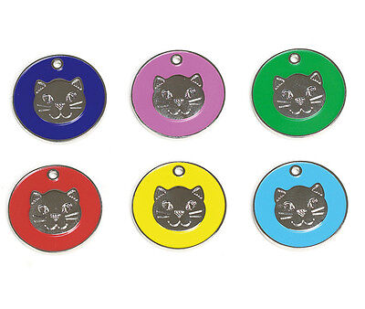 *20mm Cat Face ID Tag Assorted Colours, with Split Ring FREE ENGRAVING