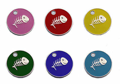 *20mm Cat Fish ID Tag Assorted Coloured, with Split Ring FREE ENGRAVING
