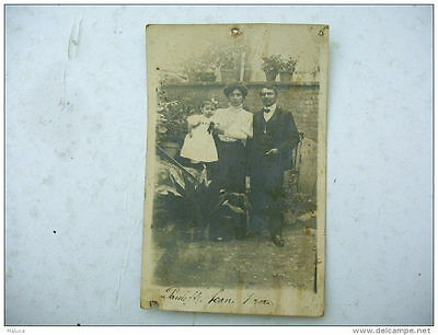 CPA - carte photo couple avec enfant - 1910