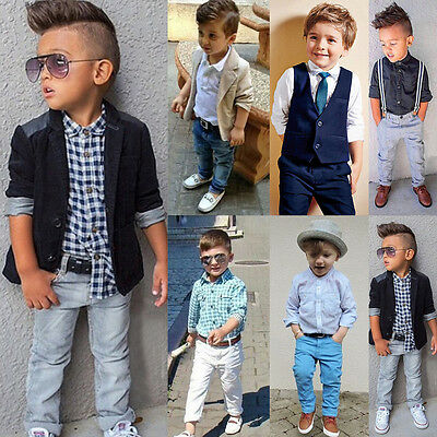 Toddler Baby Boys Kids Gentleman Outfits Suit Tops-Shirt-Coat-Pants Set Clothes