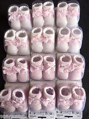 BABY GIRLS SOCK BOOTEES WITH FRILLS- 0-6 mth.WHITE OR PINK - BUYING 12 PAIR