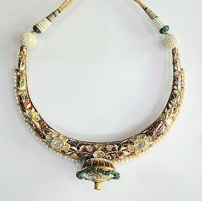 Vintage antique solid 20K Gold jewelry diamond polki Enamel Reversible Necklace