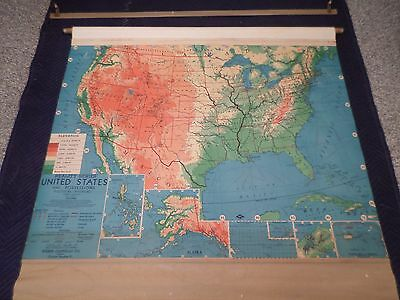 Vintage 1960's UNITED STATES WALL MAP - Webster Costello Co.