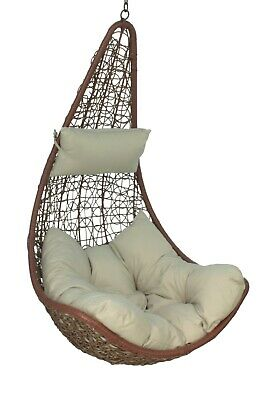 Brown Rattan Hanging Swing Egg Chair & Greycushion Garden/Patio *No Stand
