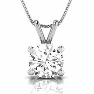 Women Si2 Round Necklace Pendant Real Solitaire 1 Carat 14K White Gold 4 Prongs
