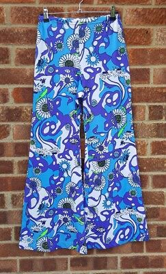 Vintage 60s psychedelic floral print flares hippy trousers 8 10