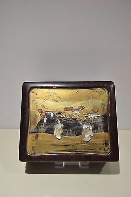 Antique Japanese Lacquer Box Soapstone Inlay Signed