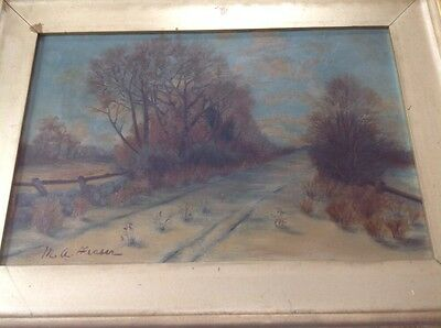 Oil On Canvas Landscape Fall Autumn  Painting Signed M. A. Fraser  Gilt Frame