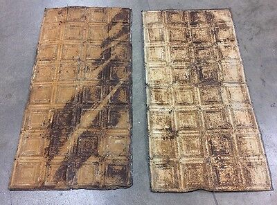 2x 2' X 4' Antique Ceiling Tin Tile Vintage Rusted Reclaimed Salvage Art 2ft 4ft