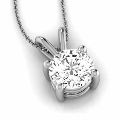 1.5 Ct Round Necklace Vvs2 D Solitaire Earth Mined Pendant 14K White Gold Women