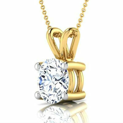Colorless Pendant Round Necklace 14K Yellow Gold 4 Prong 1 Carat Si1 D Wedding