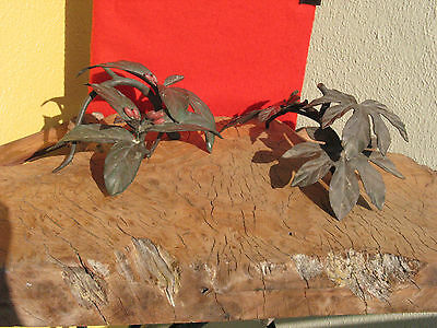 """A1412 2 Rare Vintage Japanese Bronze Ornaments """"Leaves """" Signed"""