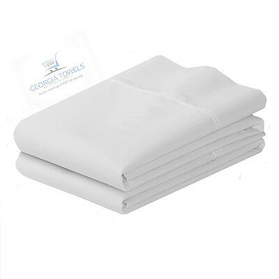 2 New Hotel Pillowcases Bright White T-180 55/45 Cotton/poly King Size