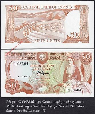P# 52  - 50 Cent 1.11.1989 T prefix  * RARE Issue year *UNCIRCULATED CONDITION