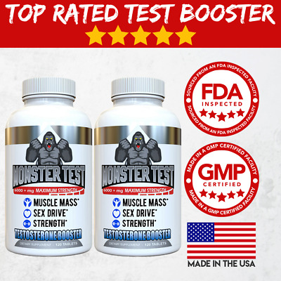 Testosterone Booster Monster Test for Men More Muscle Mass 6,000+ MG, - 2 Pack