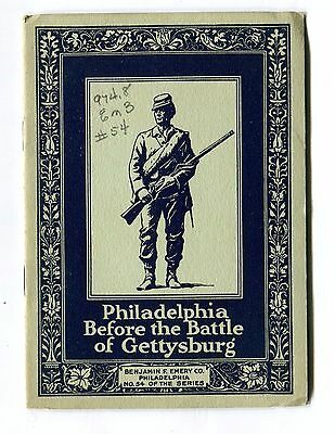 Vintage Advertising Booklet PHILADELPHIA BEFORE GETTYSBURG Benj Emery Printing