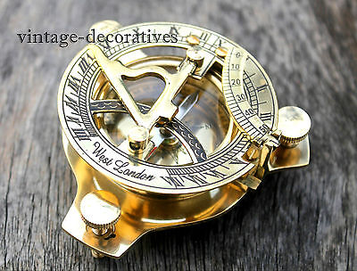 Nautical Reproduction Brass Sundial Compass Marine Working Compass Pocket Gift