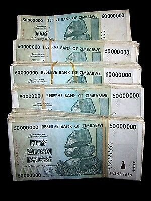 500 x Zimbabwe 50 million dollar banknotes-5 full bundles-2008/AA