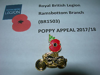 Poppy Biker Lapel Pin Badge All Proceeds to Local RBL Free Postage