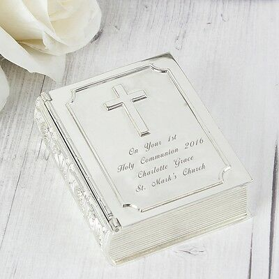 Personalised Silver Finish Bible Trinket Box Baptism Communion Christening Gift