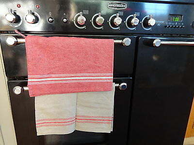Quality Joblot Set Of 20 Cotton Vintage Style Red Stripe Tea Towels Cafe