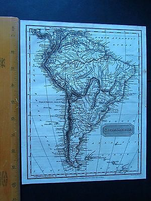 """ANTIQUE MAP - SOUTH AMERICA - 10"""" by 8"""" - UNIVERSAL GEOGRAPHY - C. KELLY 1814"""