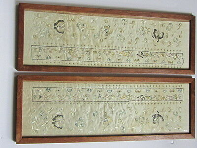 Antique Chinese Fine Silk On Silk Embroidered Panels Pair