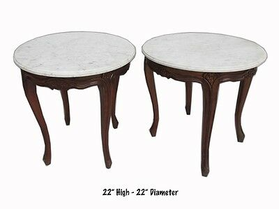 Excellent French Louis XV Marble Top Pair of Round Tables - 10749