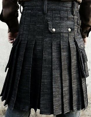 New Handmade Black Denim Utility kilt with free international Expedited Shipping