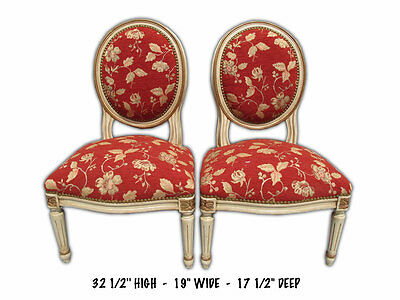 Charming French Louis XVI Style Upholstered Pair of Side Chairs - 8482