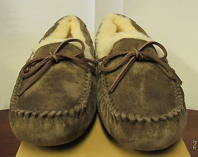 Womens Ugg Dakota Brown Bow Suede Moccasin Slipper Shoe US Size 7