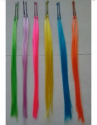 12 Bright Mixed Neon Color Highlight Straight Clip/Hair Extensions 80's Fashion