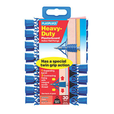 Heavy Duty Plasterboard Fixings Blue 4.5mm 30 Pack Drywall Strong Twin Grip NEW