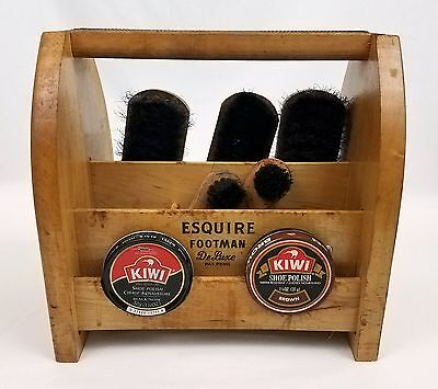 Vtg Esquire Footman Deluxe Shoe Shine Box with 5 Brushes & Brown Black Polish