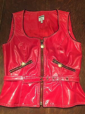 Moschino Jeans Red Faux Leather Vest Womens Vintage 1990s Size 8 Small to Medium