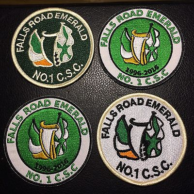 Falls Rd Emerald No1 CSC Belfast Celtic Fc 4 X Patches (Iron On)